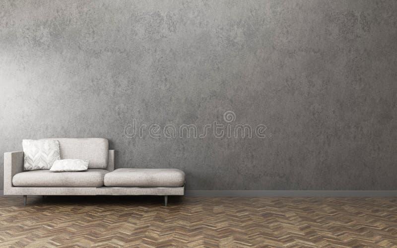 Relax space in condominium. Living room interior. 3d rendering vector illustration