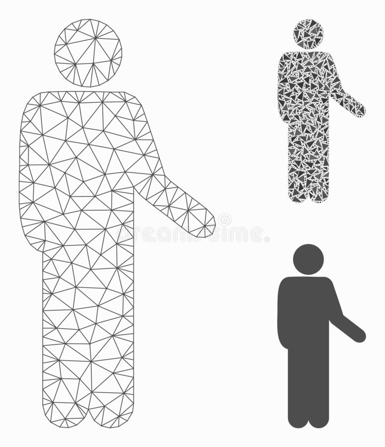 Relax Standing Pose Vector Mesh Carcass Model and Triangle Mosaic Icon. Mesh relax standing pose model with triangle mosaic icon. Wire carcass triangular mesh of vector illustration