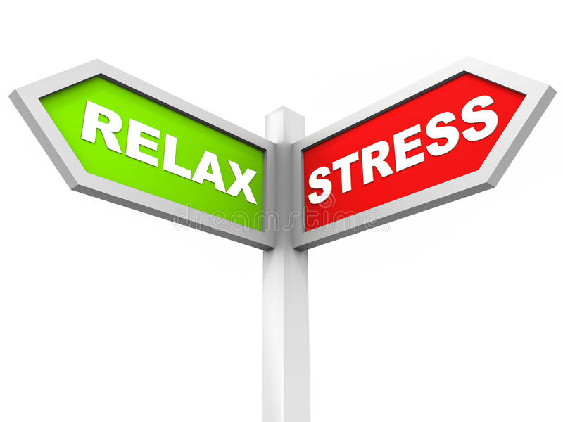Relax stress. Choice of stress or relax, street sign with words relax in green and stress in red pointing in different directions