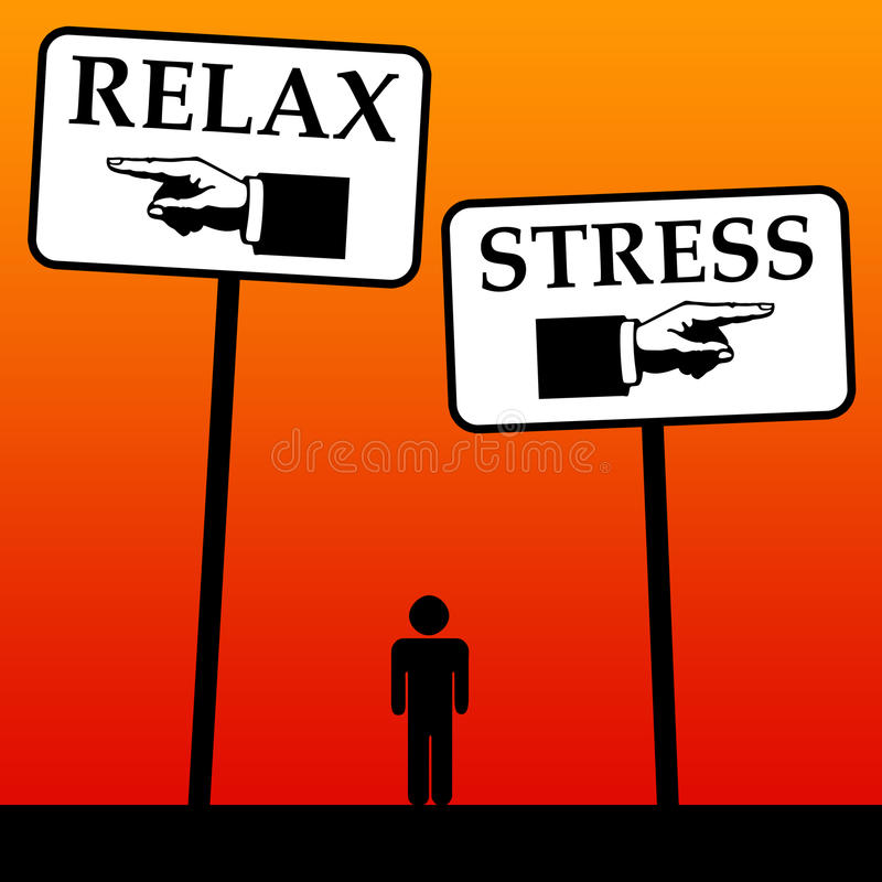 Relax and stress. Choosing between relaxation and stress royalty free illustration