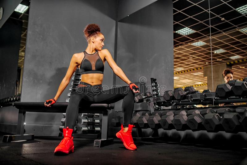 Fitness woman in the gym. Sport workout exercises with dumbbels. royalty free stock images