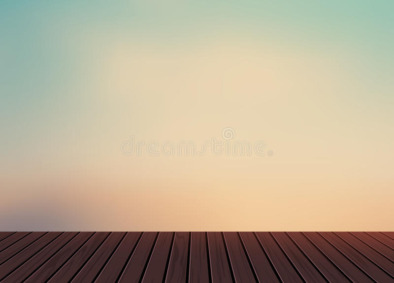 Relax,Vacation time,Holiday,wooden texture floor balcony with morning light blue sky in nature scenery background. To adapt idea for holiday,travel,postcard vector illustration