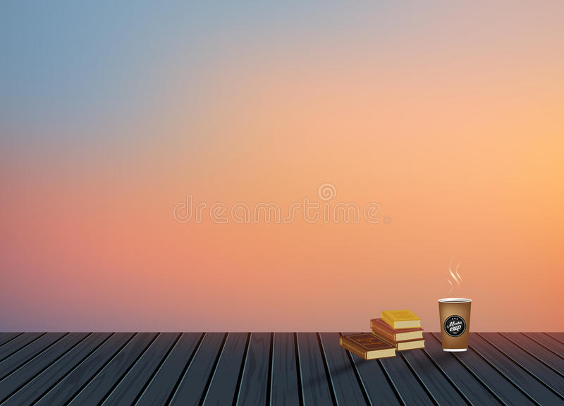 Relax,Vacation time,Holiday,wooden texture floor with evening skyline natural scenery background with coffee cup stock images