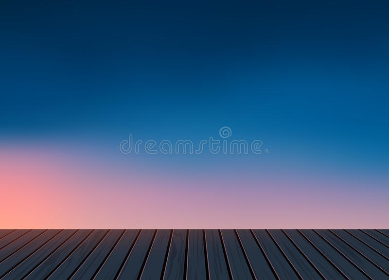 Relax,Vacation time,Holiday,wooden texture floor with evening skyline natural scenery background stock images
