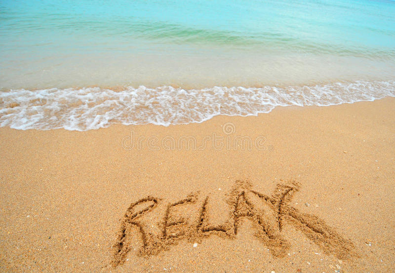 Download Relax written in sand stock image. Image of wave, seaside - 25314599
