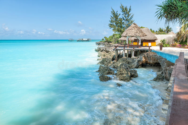 Relax on Zanzibar. Beautiful beach on island Zanzibar stock photos