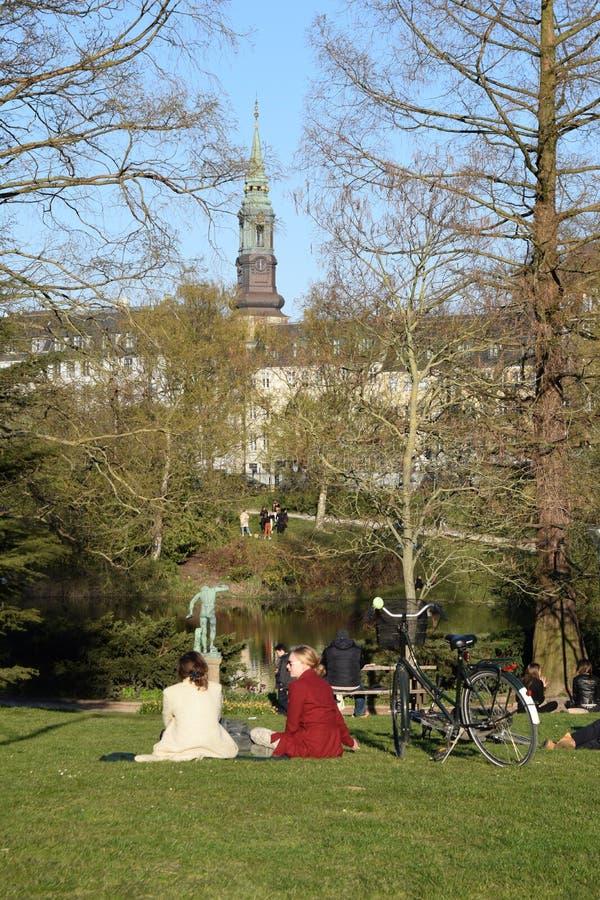 Relaxamento em um parque Dinamarca de Copenhaguen fotografia de stock royalty free