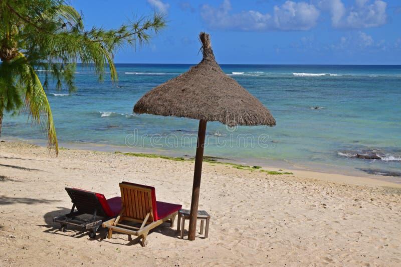 Relaxamento no paraíso da praia com máscara da árvore e da cabana com água clara foto de stock royalty free