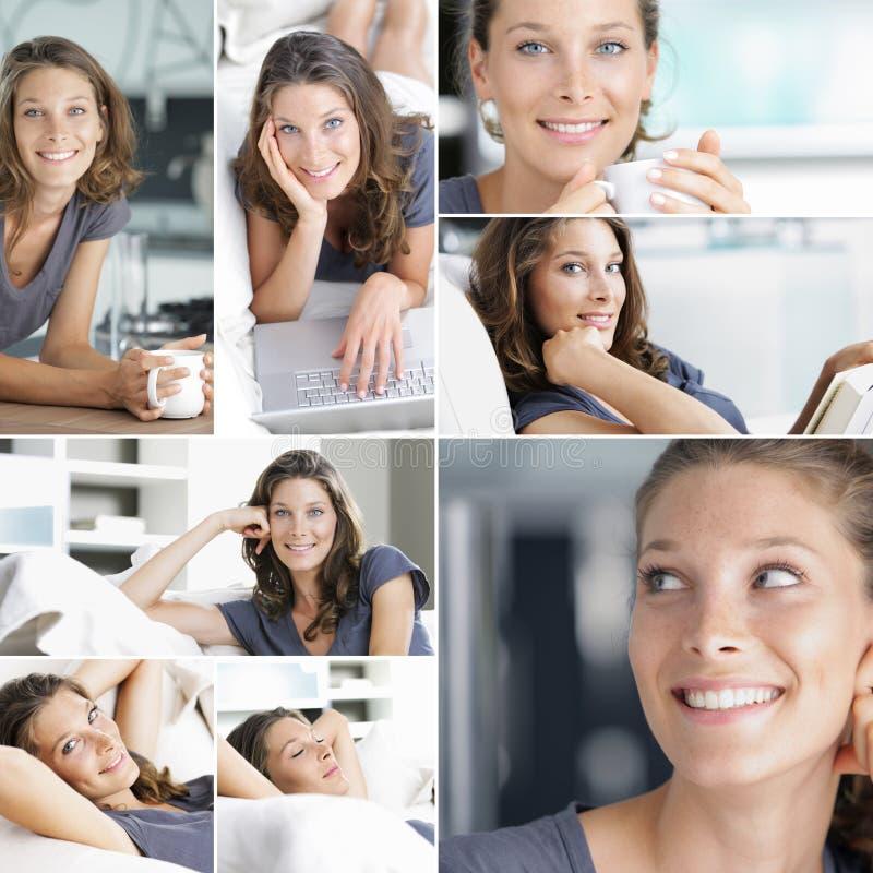 Relaxando em casa a colagem imagens de stock royalty free