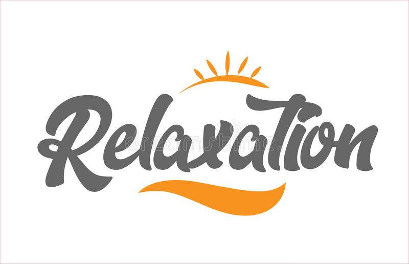 Relaxation black hand writing word text typography design logo i. Relaxation word hand writing text typography design with black and orange color suitable for stock illustration
