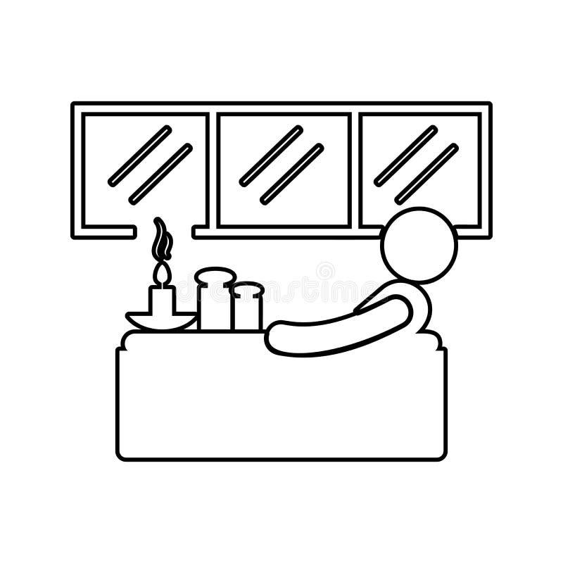 relaxation dans l'icône de baignoire Élément de STATION THERMALE pour le concept et l'icône mobiles d'applis de Web Ligne mince i illustration stock