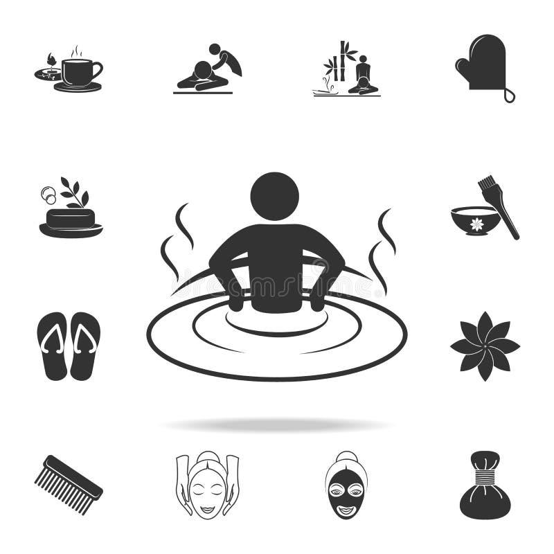 relaxation dans l'icône de baignoire Ensemble détaillé d'icônes de STATION THERMALE Conception graphique de qualité de la meilleu illustration stock