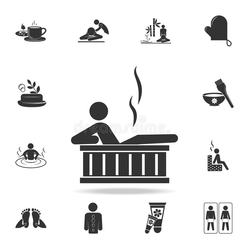 relaxation dans l'icône de baignoire Ensemble détaillé d'icônes de STATION THERMALE Conception graphique de qualité de la meilleu illustration de vecteur