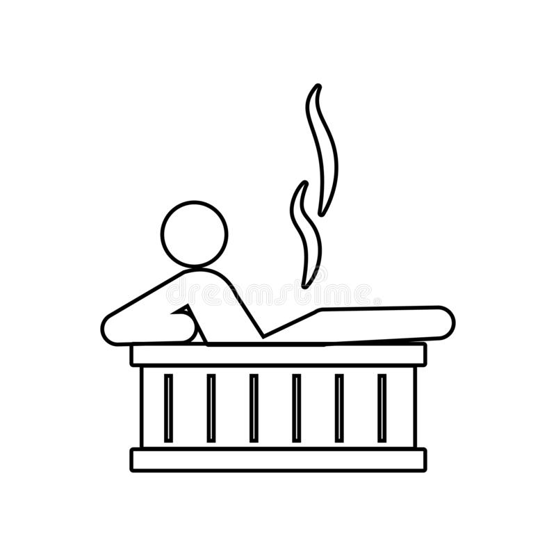 relaxation dans l'ic?ne de baignoire ?l?ment de STATION THERMALE pour le concept et l'ic?ne mobiles d'applis de Web Contour, lign illustration stock