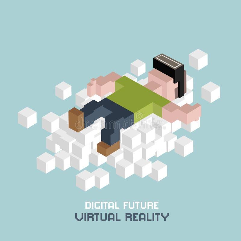 Relaxation de réalité virtuelle sur le nuage, homme en verres de VR, faisant de la publicité le concept Cube l'illustration isomé illustration libre de droits