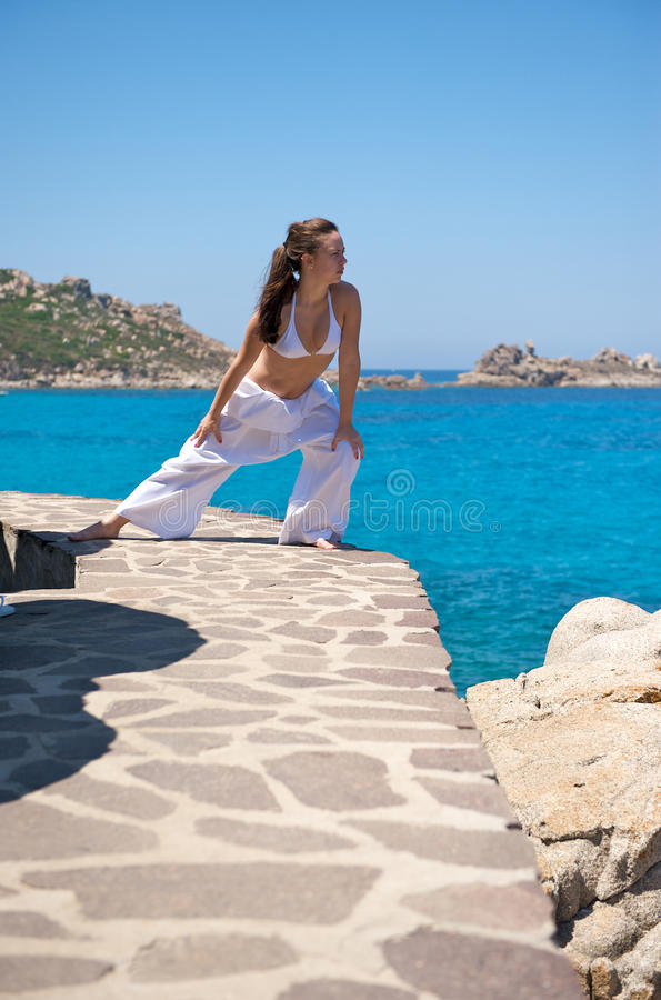 Download Relaxation Exercices On The Beach Royalty Free Stock Photo - Image: 10529595