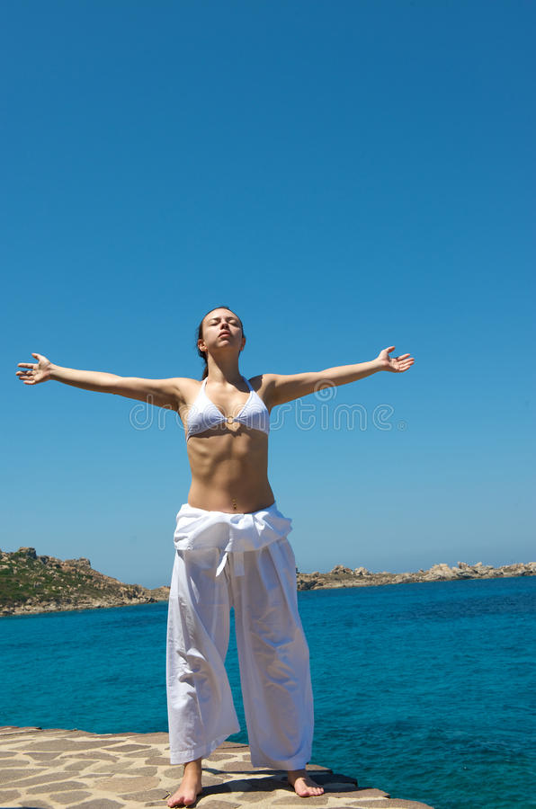 Download Relaxation Exercices On The Beach Stock Photo - Image: 10531104