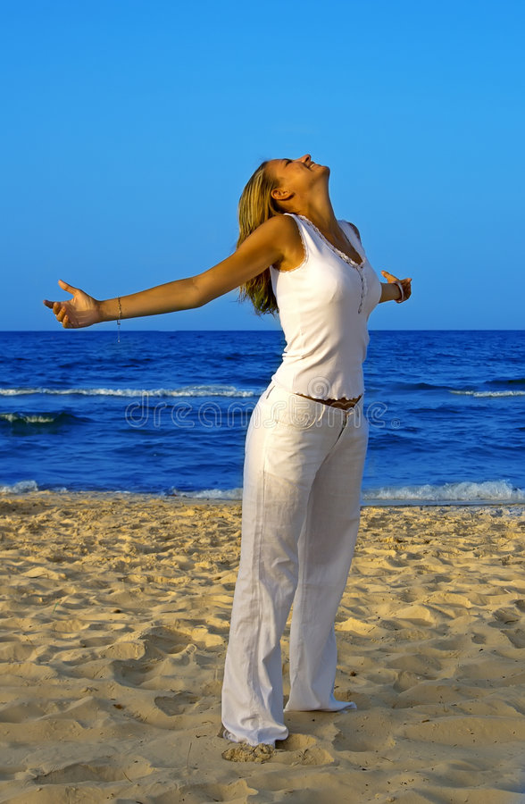 Relaxation exercise on beach