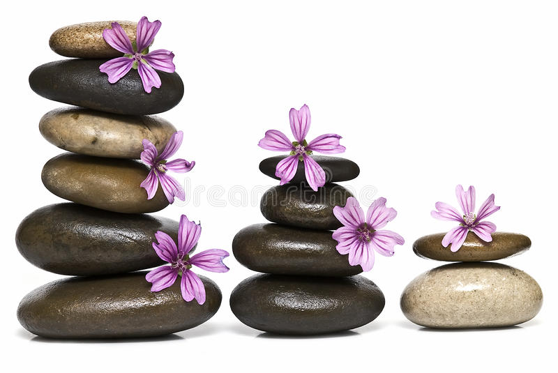 Relaxation with flowers and stones.