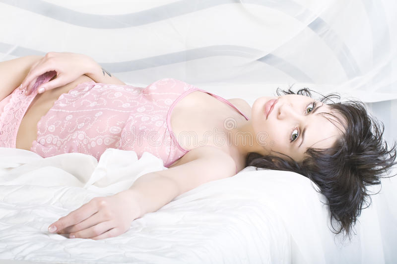 Download Relaxation Girl In The Bed. Stock Image - Image: 10011491