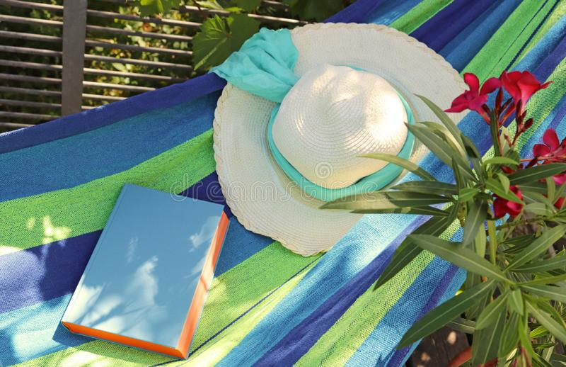 Relaxation in a hammock on a balcony royalty free stock images