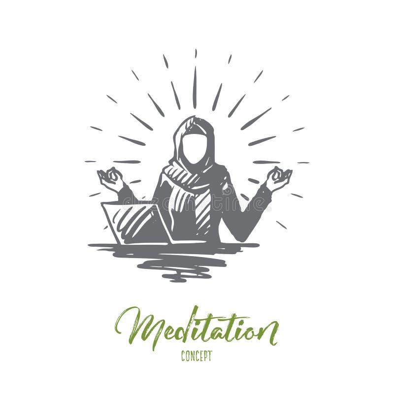 Relaxation, méditation, hijab, l'Islam, concept de femme d'affaires Vecteur d'isolement tiré par la main illustration stock