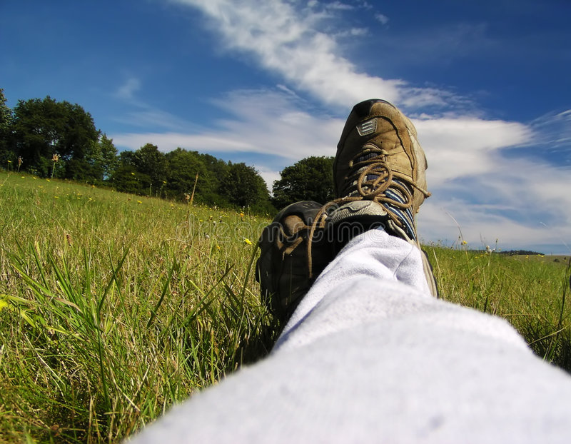 Relaxation on the meadow. In hot summer day stock image
