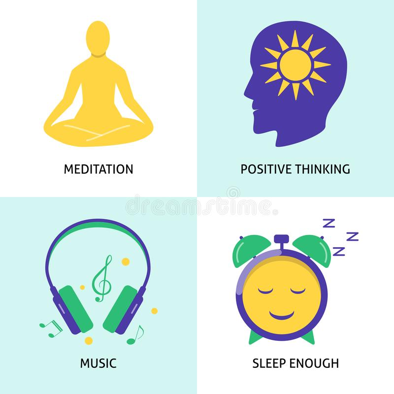 Relaxation and mental health concept icon set in flat style vector illustration
