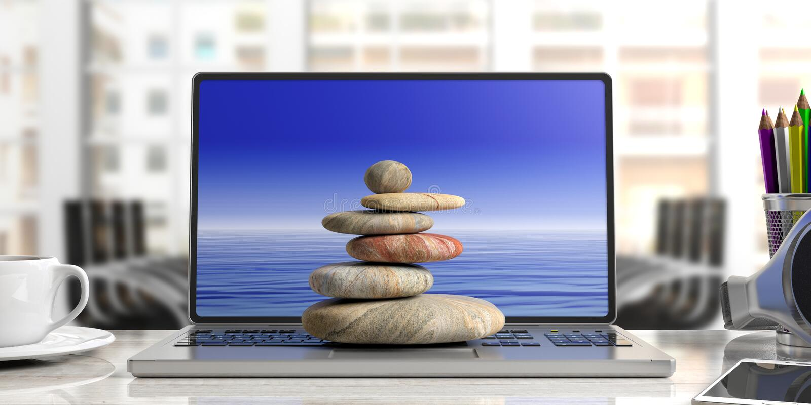 Zen stones stack on a computer, office background. 3d illustration. Relaxation at the office. Zen stones stack on a computer. 3d illustration royalty free illustration