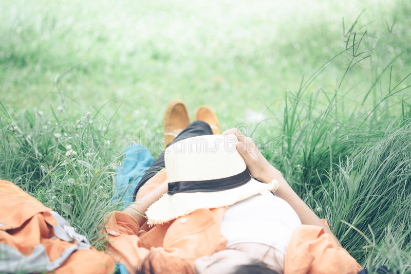 Relaxation and outdoor idea concept. stock photo