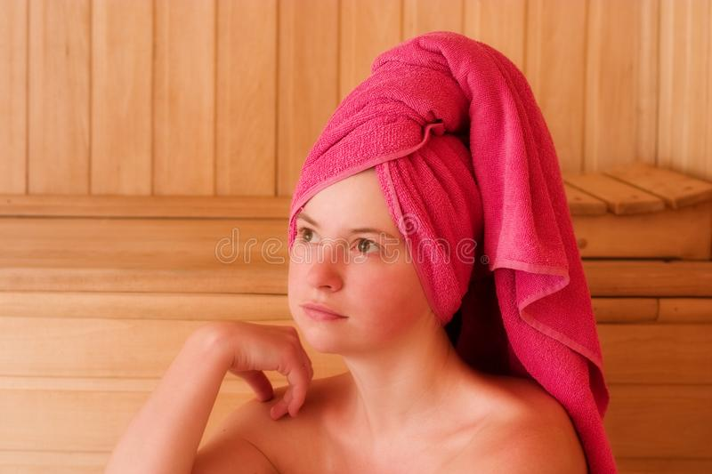 Relaxation In Sauna Free Stock Images
