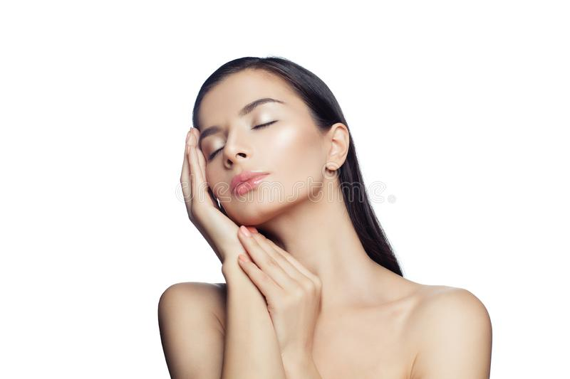 Relaxation. Spa woman relaxing isolated on white background. Beautiful female face stock photos