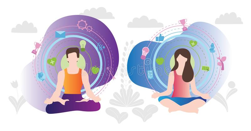 Relaxation techniques vector illustration. Human couple sitting in yoga lotos position and enjoy calm, balance, harmony and peace. Relaxation techniques vector vector illustration