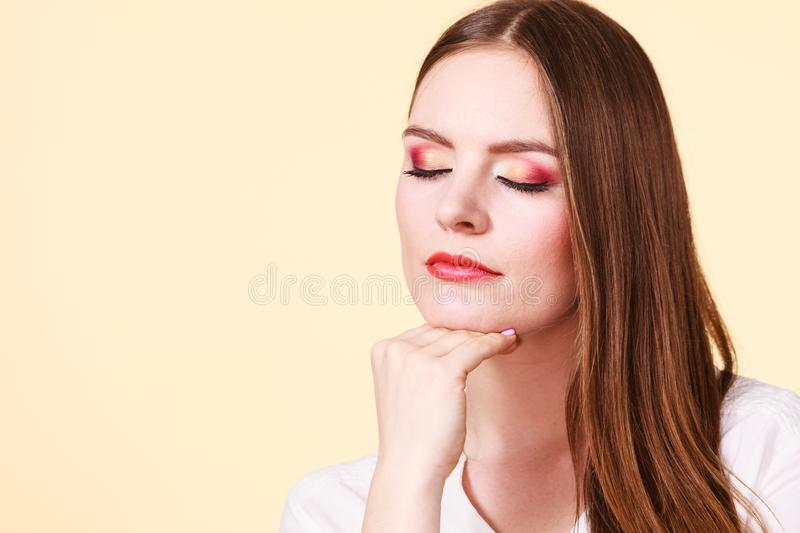 Attractive woman with thinking and contemplating royalty free stock photos