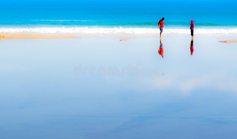Relaxation and tranquility. In a a mediterranean beach where tranquility and rest help to feel better stock photography