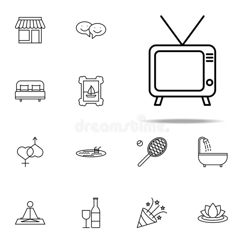 Relaxation in watching tv icon. relaxation icons universal set for web and mobile. On white background stock illustration