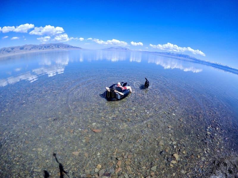 Relaxe com o cão no lago Sayram imagem de stock royalty free