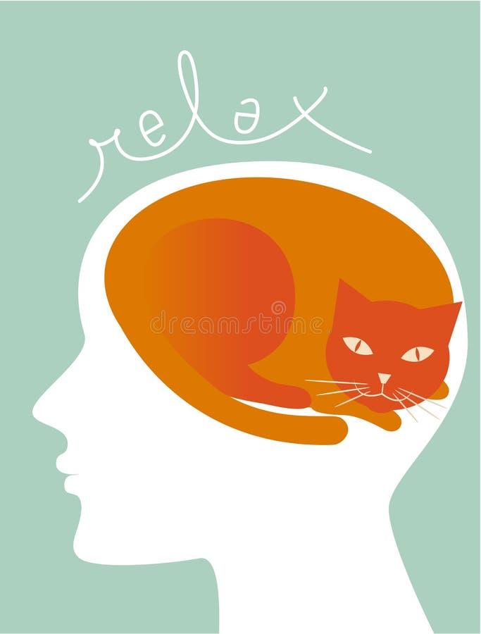 Relaxe como um gato ilustração stock