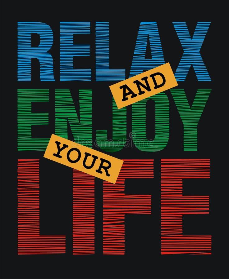 Relaxe e aprecie sua vida, ilustração stock