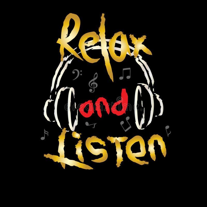 Relaxe e escute ilustração royalty free
