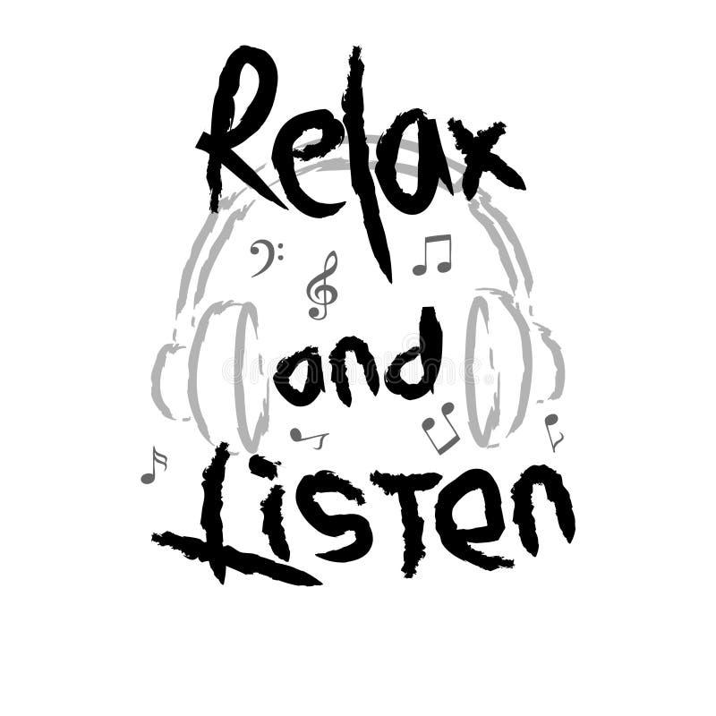 Relaxe e escute ilustração do vetor