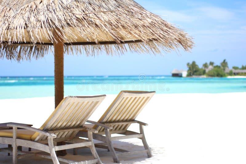 Relaxe na praia branca da areia em Maldivas imagens de stock royalty free