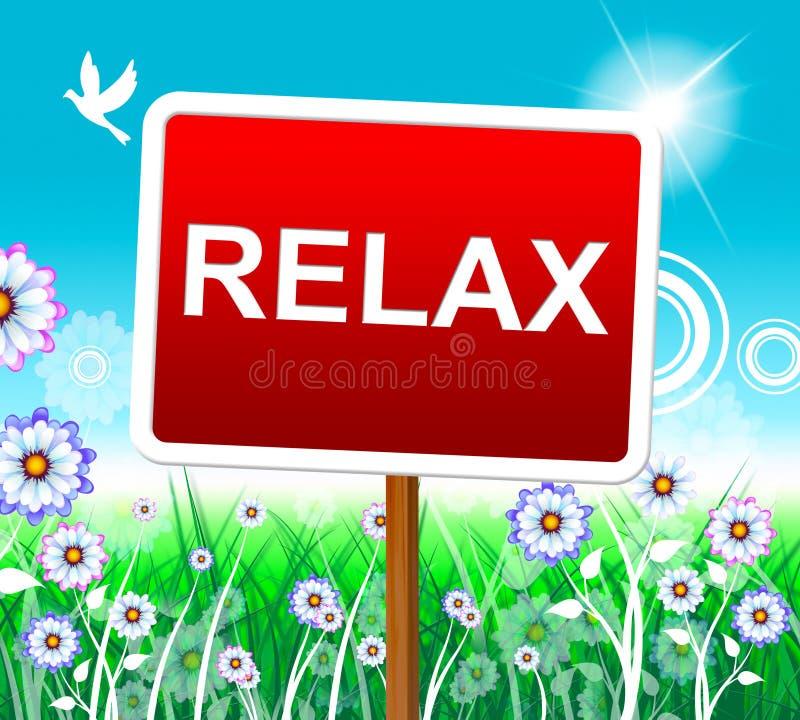 Relaxe o abrandamento representa o prazer de descanso e relaxado ilustração royalty free