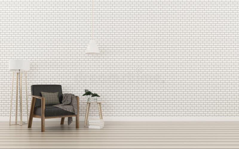 Relaxe o espaço na casa parede de tijolo e assoalho de madeira na sala de visitas Projeto interior moderno ilustração do vetor