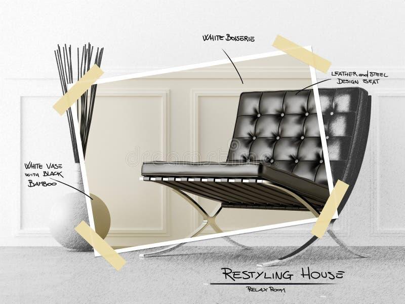 Relaxe o projeto do restyle do quarto ilustração royalty free
