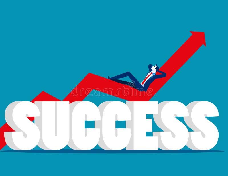 relaxed Бизнесмен лежа на диаграмме Successf дела концепции иллюстрация штока
