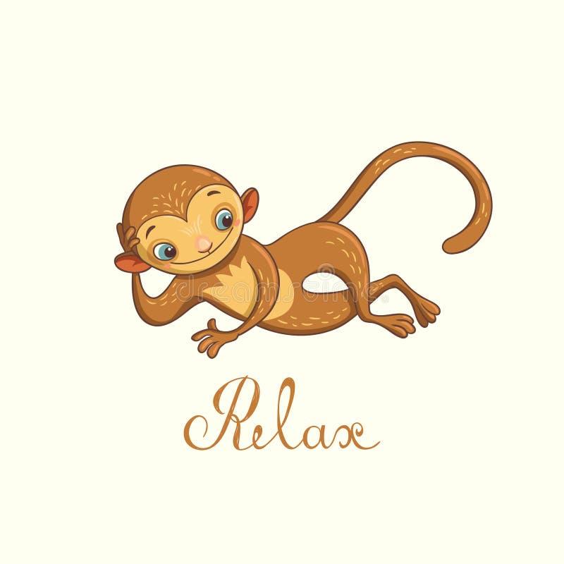 Relaxed обезьяна также вектор иллюстрации притяжки corel иллюстрация вектора