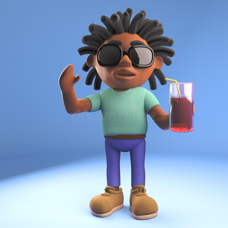 Relaxed Afro Caribbean man with dreadlocks drinking a soft drink, 3d illustration. Render royalty free illustration