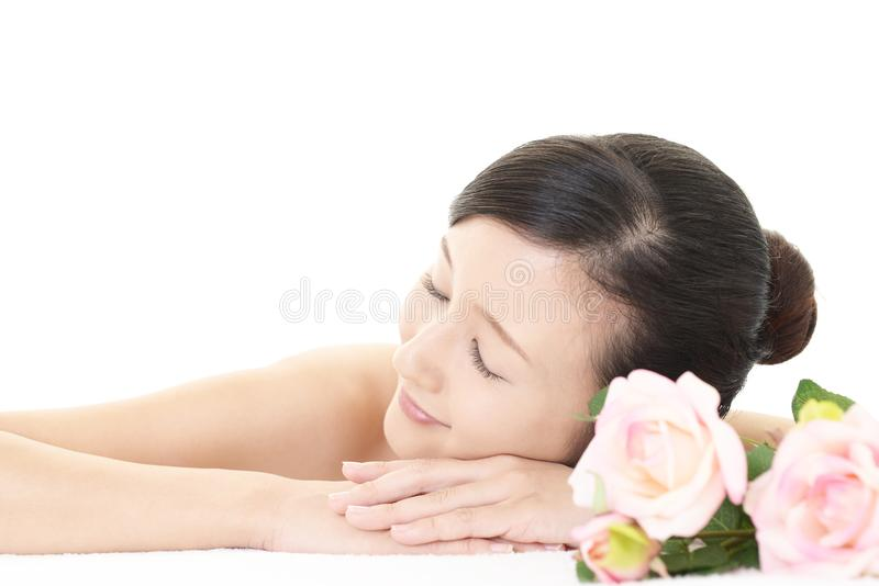 Relaxed beautiful young woman stock photo