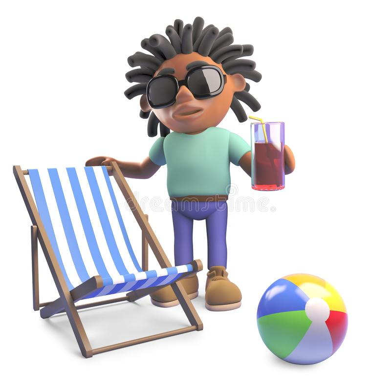 Relaxed black man with dreadlocks on holiday with deckchair and drink, 3d illustration. Render vector illustration